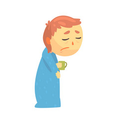 sick boy character with flu wrapped in a blanket vector image