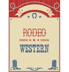 American cowboy rodeo poster for text vector image vector image