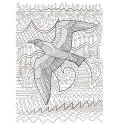 flying seagull with high details vector image vector image