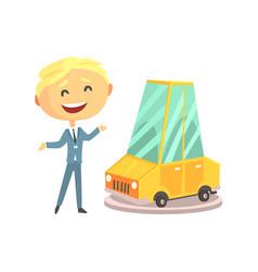 Happy smiling car sales consultant at new car vector