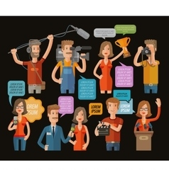 TV and journalism icon collection vector image