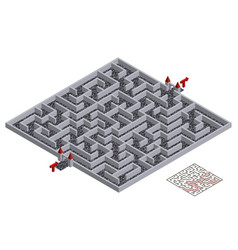 3d maze isometric labyrinth medieval town walls vector image