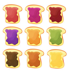A set of nine sandwiches - chocolate banana jelly vector