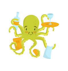 adorable green octopus with pink cheeks and small vector image
