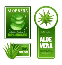 Aloe Vera Leaves Label Banners Set vector