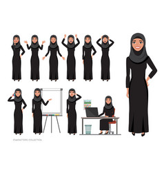Arab women character set of emotions arabian vector