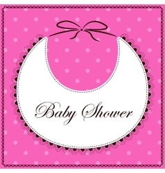 Baby shower with bib pink vector