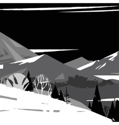 black and white image of stylized mountains vector image