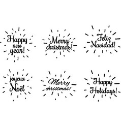 Black christmas and new year prints on white vector