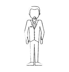 blurred silhouette caricature faceless man formal vector image