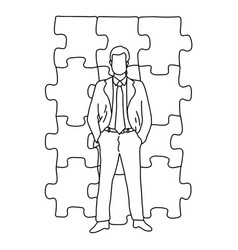 businessman standing in front jigsaw puzzle vector image