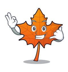 Call me red maple leaf mascot cartoon vector