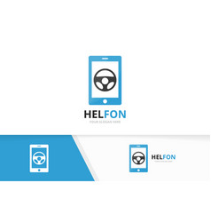 car helm and phone logo combination vector image