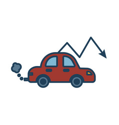 Car polluting with arrow down fill style icon vector