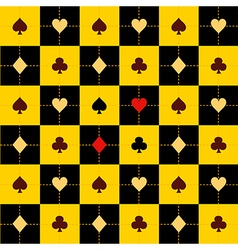 Card Suits Yellow Black Chess Board Background vector