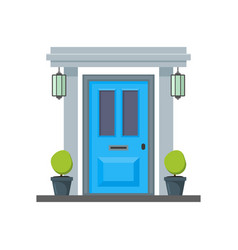 cartoon blue front door of house vector image