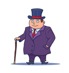 Cartoon Businessman Character with Cane and Top vector