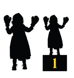 Child boxing silhouette vector