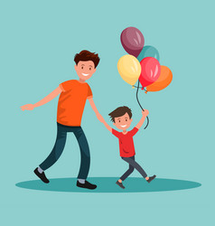 children s festival father and son have fun vector image