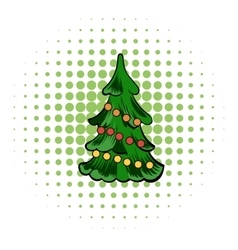 Christmas tree comics icon vector image
