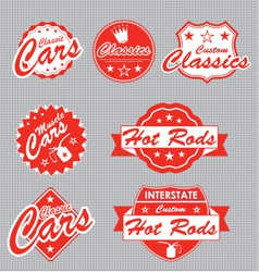 Classic Cars Labels vector image