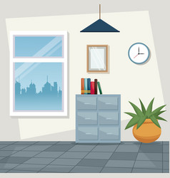 Color scene background workplace office design vector