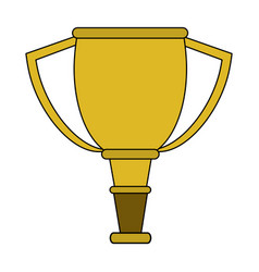 Colorful image cartoon golden cup trophy vector