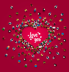 crowd of people in the form of a heart symbol vector image vector image