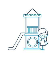 cute girl in childish games character icon vector image