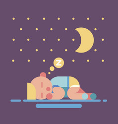 cute sleeping baby geometry flat vector image