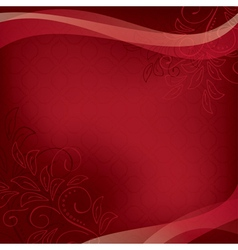 Dark red floral card with geometric texture vector