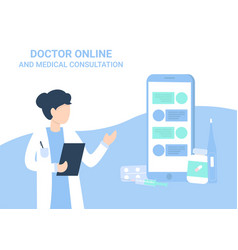 doctor woman and phone cha medical consultation vector image