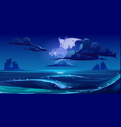 Dragon ghost flying in sky under sea at night vector