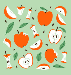 eaten bitten and sliced apples cartoon set vector image