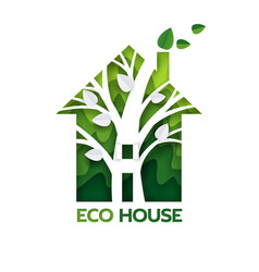 eco green house paper cut vector image