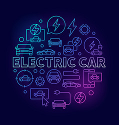 Electric car round colorful vector
