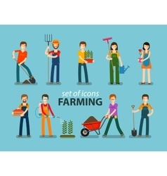 Farming and gardening icon set People at work on vector