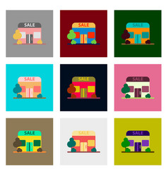 Flat assembly icons of shop sale vector