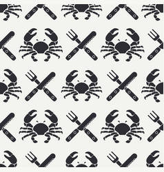 Flat line seamless pattern crab cutlery vector