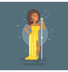 Flat style of Afro American woman star celebrity vector