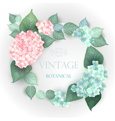 floral wedding card with blooming hydrangea vector image