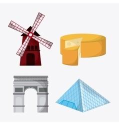 France design landmarks icon set graphic vector