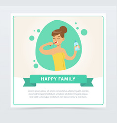 Girl brushing her teeth daily routine hygiene vector