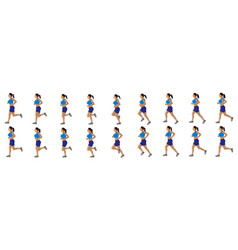 girl run cycle animation sequence loop animation vector image