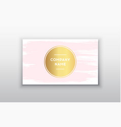 Golden and pink business card vector