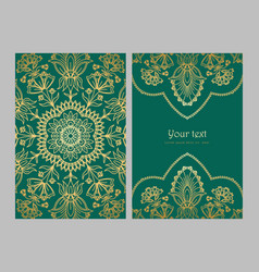 Greeting card golden ethnic patterns on green vector