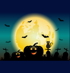 Halloween night background with pumpkins and vector