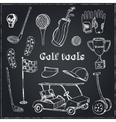 hand drawn set with golf tools vector image