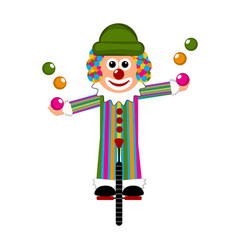 happy circus clown on a monocycle vector image