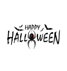 happy halloween card drip text spider isolated vector image